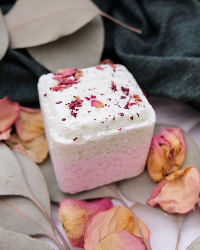Enjoy a wonderfully fragrant shower experience with this lavender essential oil shower steamer cube fizzy! Each fizzy is a one-time use for a shower experience.