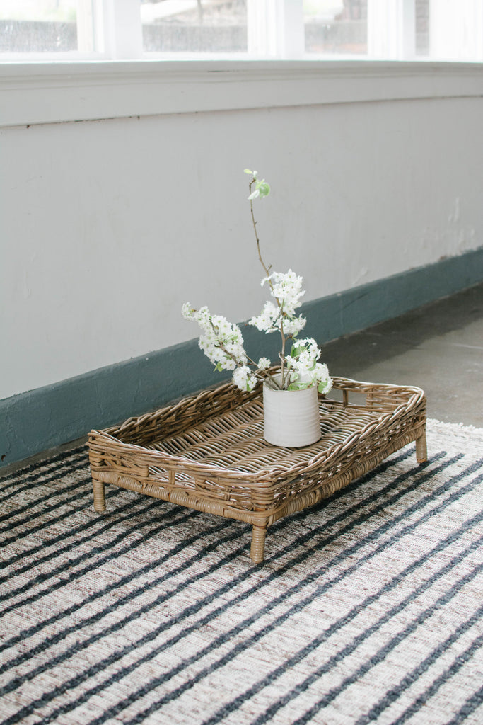 Hand-knotted stripes with a creamy mocha base makes this handmade rug one of our all-time favorite finds!  We drool over it's simplicity and gorgeous color variation.  Modern contemporary Moroccan styling meets hand-crafted goodness.  One-of-a-kind -- exclusively at Amethyst Home!
