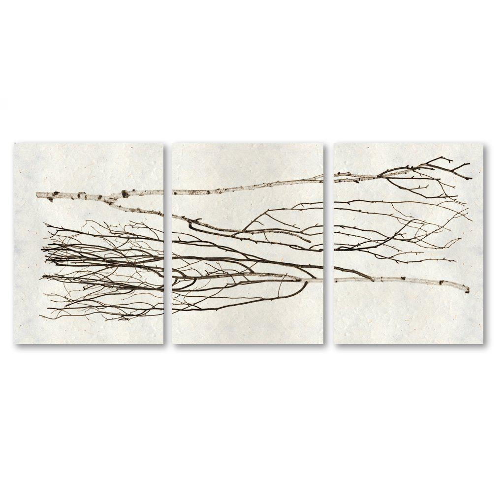Each triptych of gorgeous birch branches is comprised of three panels with a black frame on natural paper. Where applicable, trilogies are signed on the corner so that they can be hung either vertically or horizontally. Orientation for signatures and hangers will follow the images on the left.  Framed size per panel: 24 x 31.5 Overall size*: 31.5 x 74 * Overall size includes three panels with one inch of spacing in between
