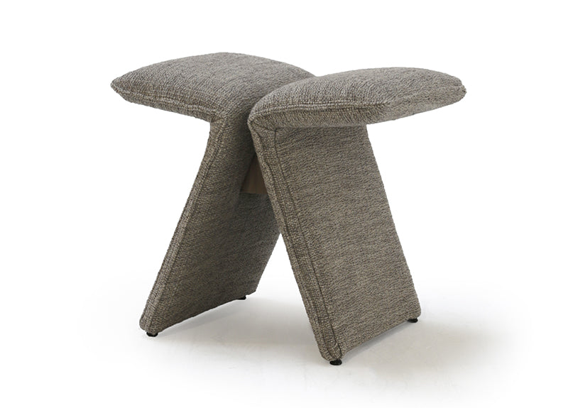 The Butterfly Upholstered Occasional Stool by Verellen is abstract and beautiful. This comes standard with:  soy based poly wrap seat construction double needle stitch detail knife edge upholstery style sits on glides standard walnut brace The Butterfly Exposed Wood Occasional Stool comes standard with:  sits on glides