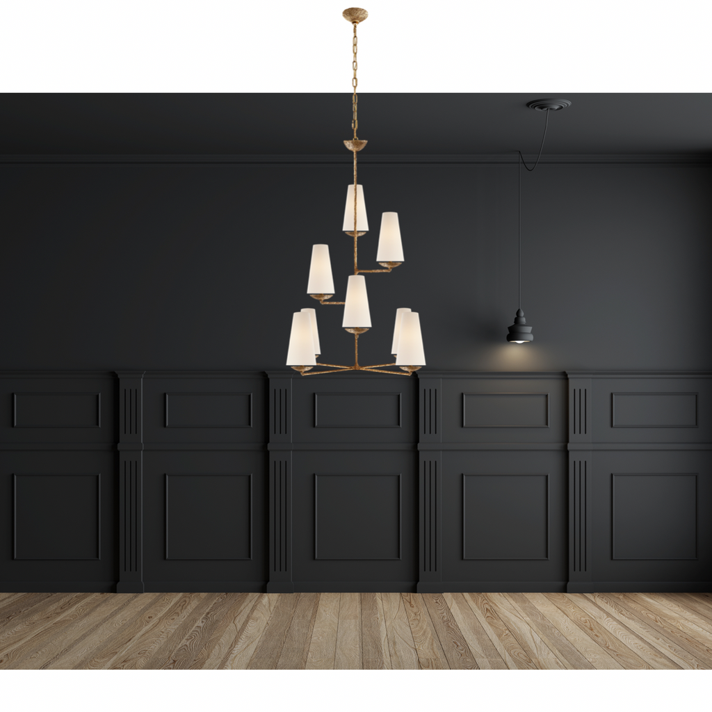 We love the textured look of the Fontaine Vertical Chandelier by Visual Comfort. The layered linen shades brings a classy, warm look to any living room, dining room, or other large area.   Designer: AERIN