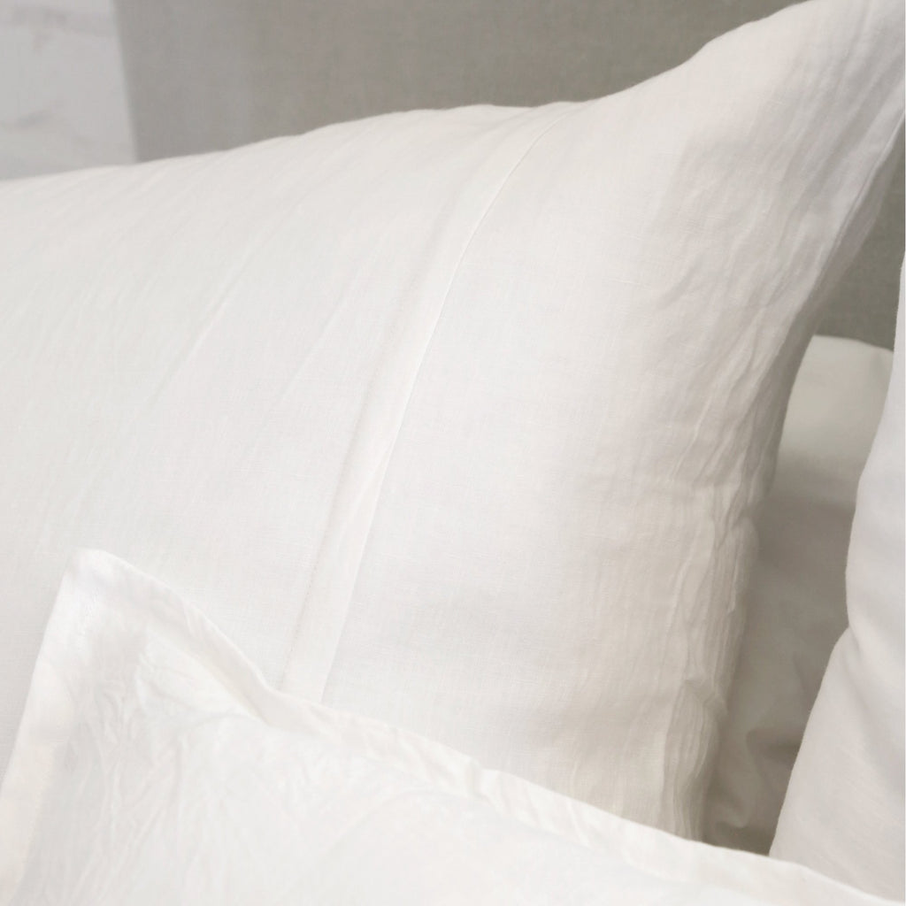 "We love the organic roots from the Louwie White Collection. It features two 1/2"" flanges running down the middle of the duvet cover and square shams. All other pillow shams have a 1/2"" flange along their edge.  Details & Care: 100% cotton. Machine wash cold; tumble dry low; warm iron as needed. Do not bleach"