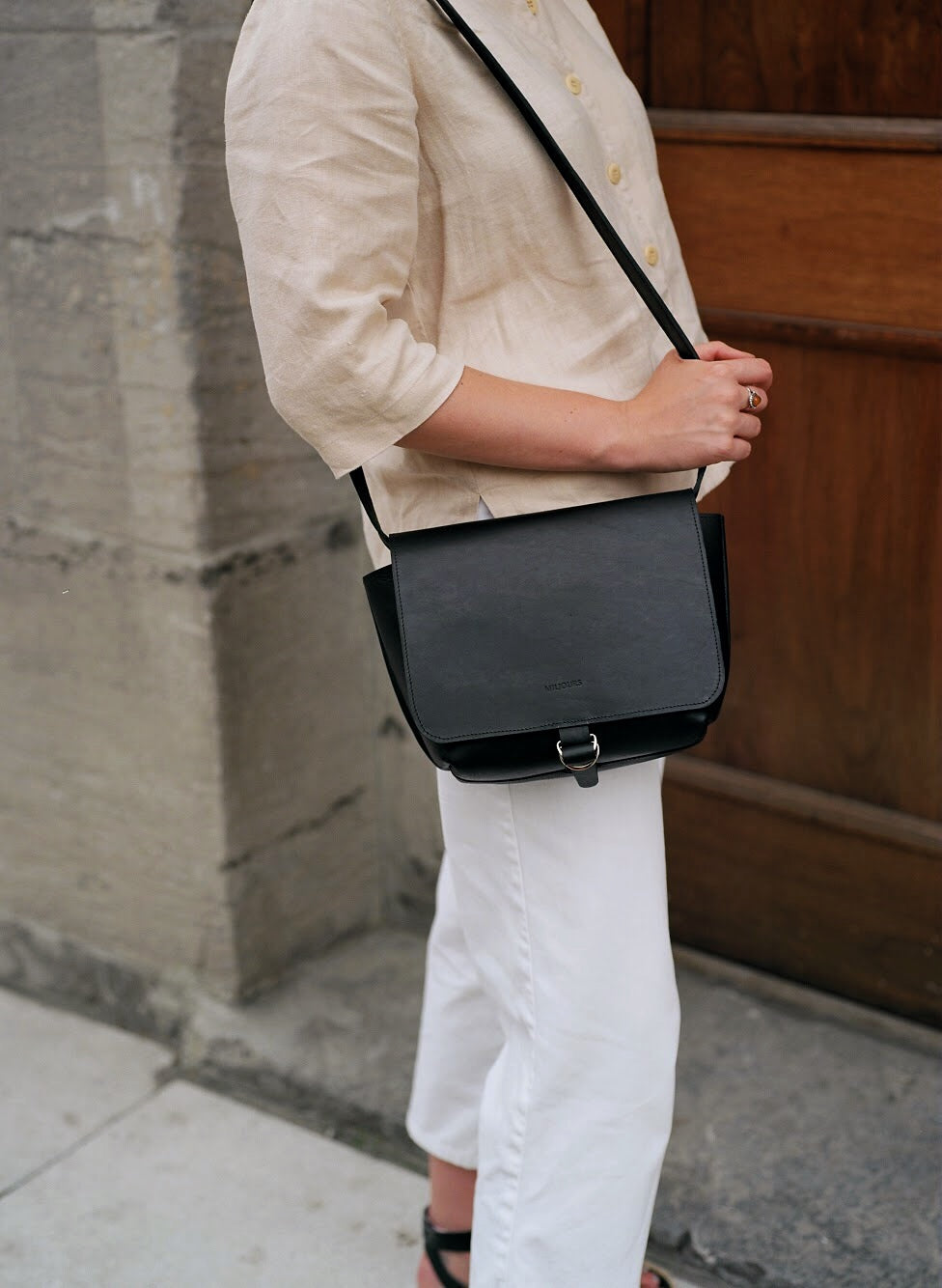 Leather cross-body