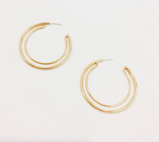 GOLD DOUBLE HOOPS | MLKANHNY