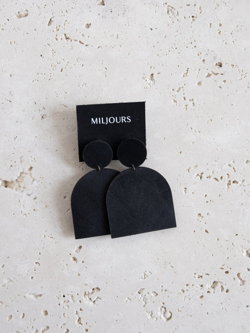 BLACK LENA LEATHER EARRINGS | MILJOURS STUDIO