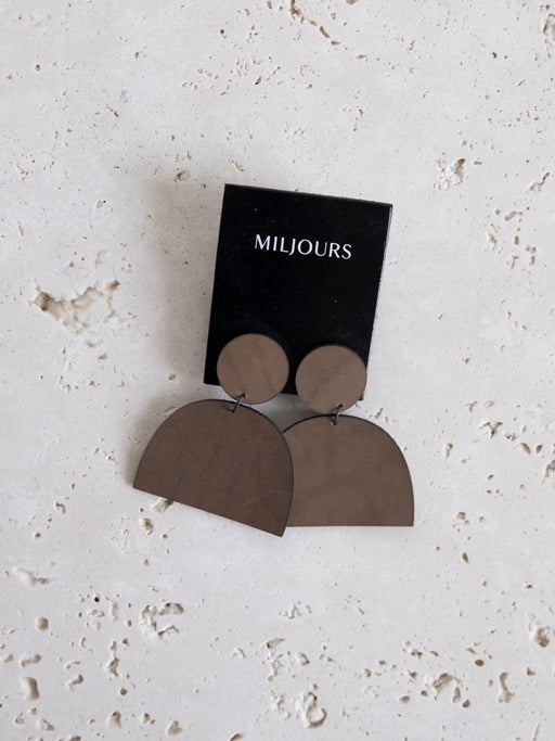 TAUPE LENA LEATHER EARRINGS | MILJOURS STUDIO