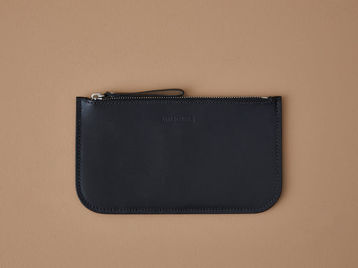 BLACK WALLET WITH ZIP