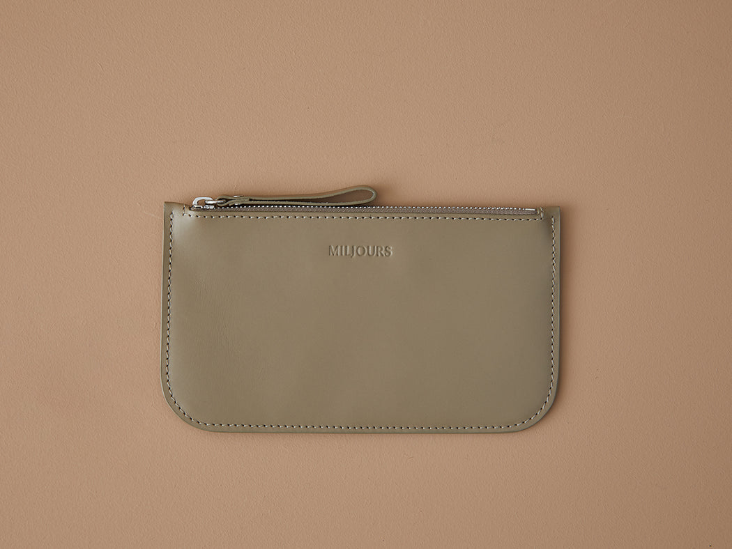 TAUPE WALLET WITH ZIP | MILJOURS STUDIO