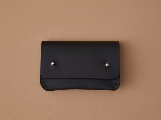 BLACK LEATHER CARD WALLET | MILJOURS STUDIO