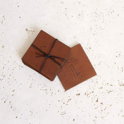 COGNAC ALMOST PERFECT LEATHER COASTERS