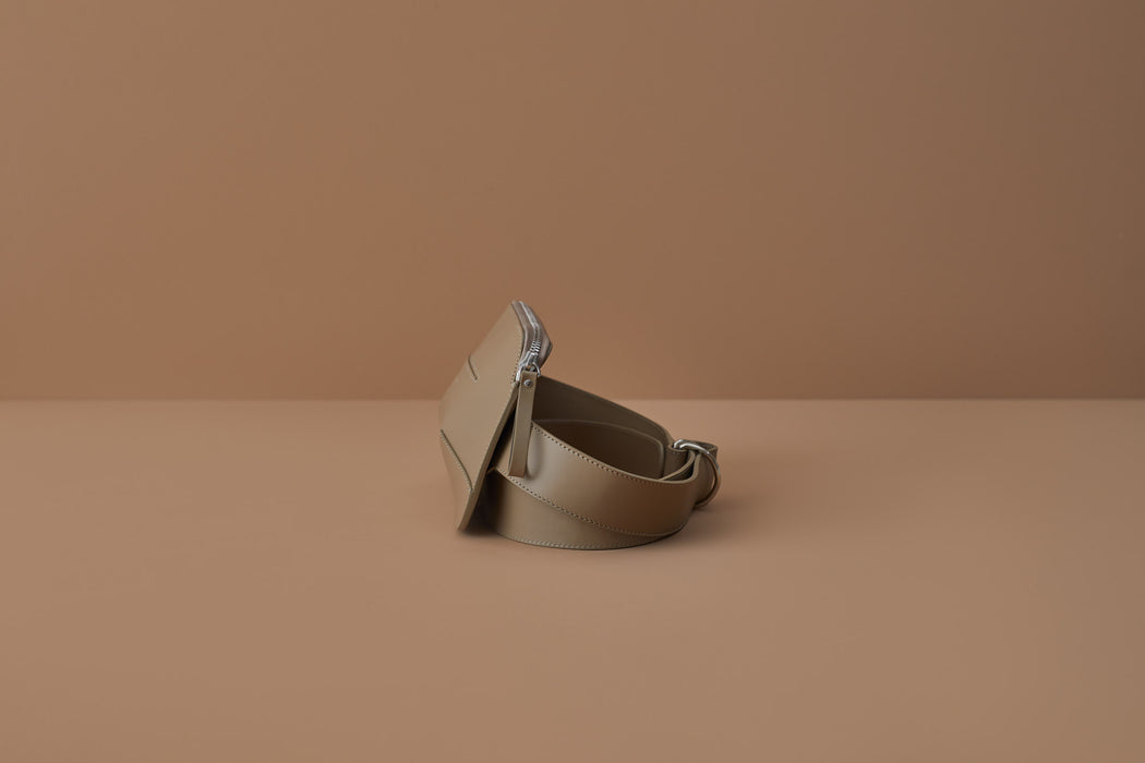 TAUPE LEATHER BELT BAG | MILJOURS STUDIO