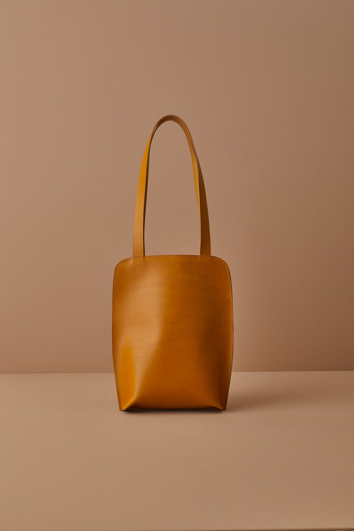 MUSTARD LEATHER TOTE BAG | MILJOURS STUDIO