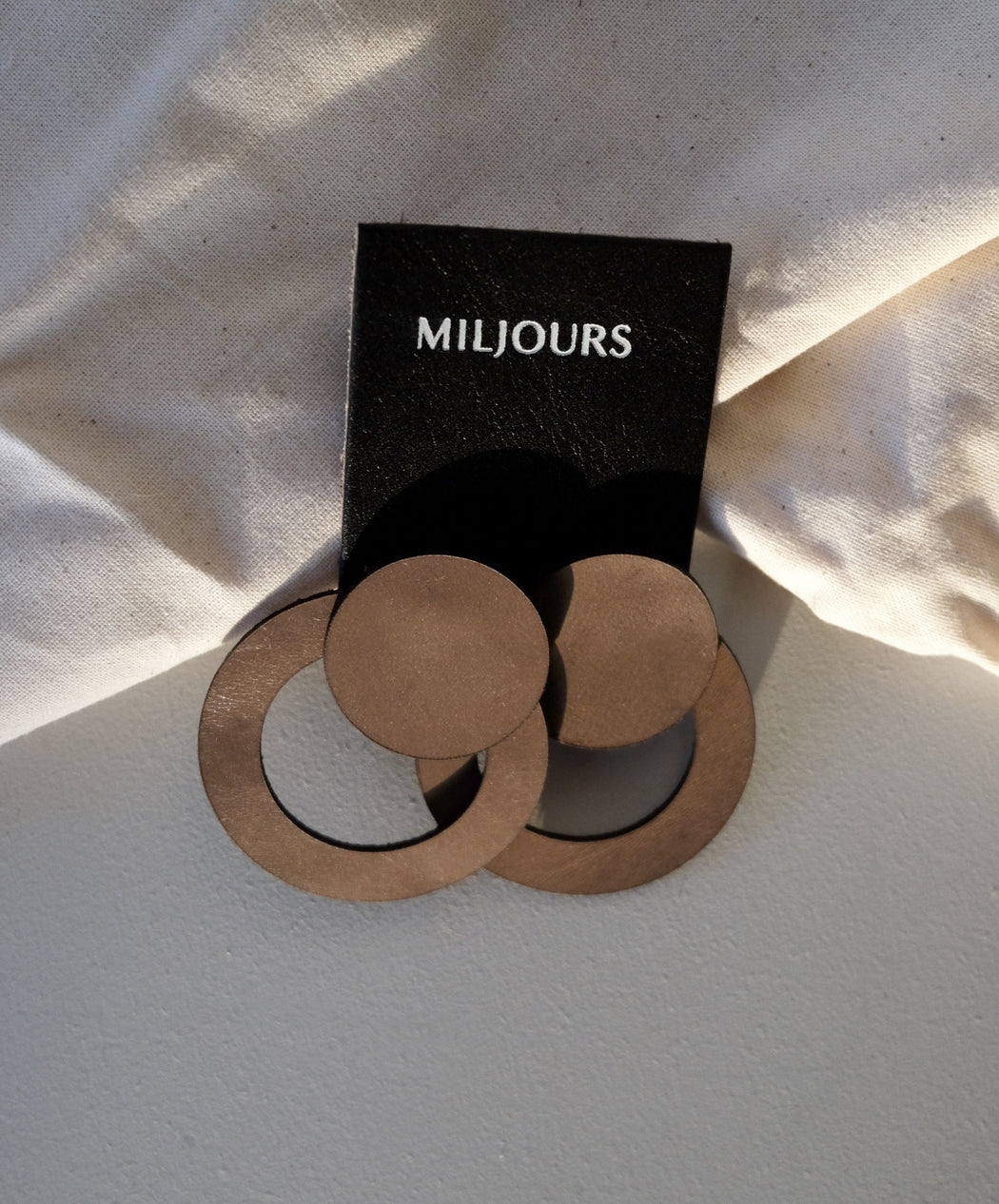 Taupe leather earrings | Miljours Studio