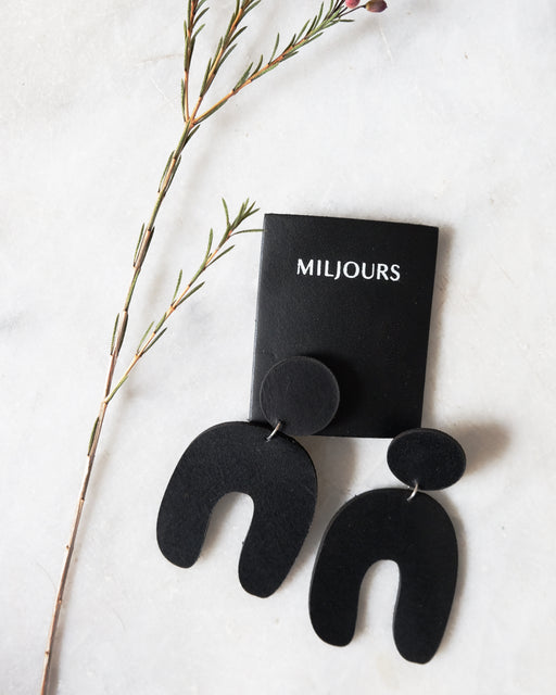 Black leather earrings | Miljours Studio