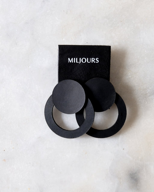 BLACK NOA LEATHER EARRINGS | MILJOURS STUDIO