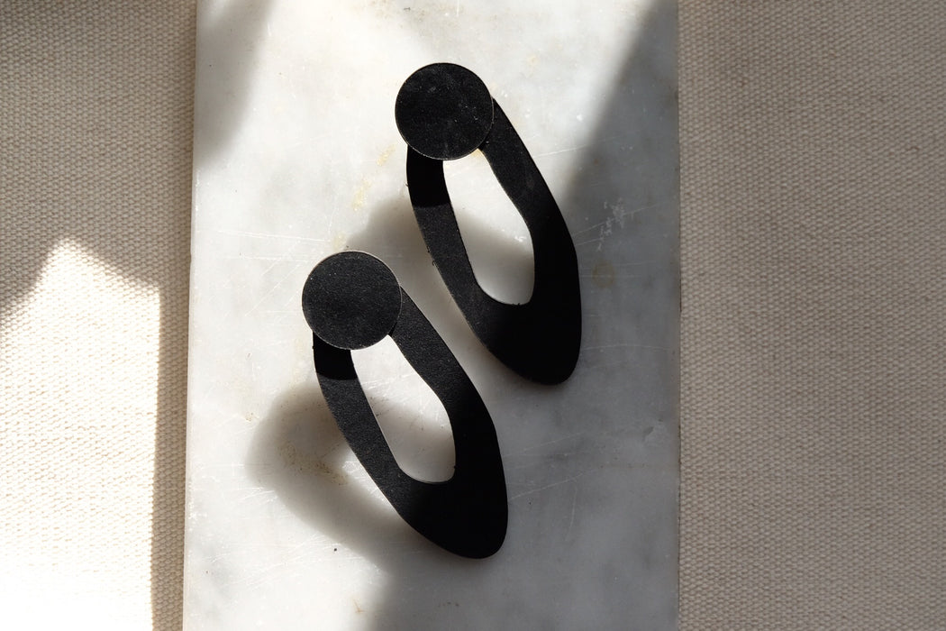 Leather Earrings | ALMA BLACK