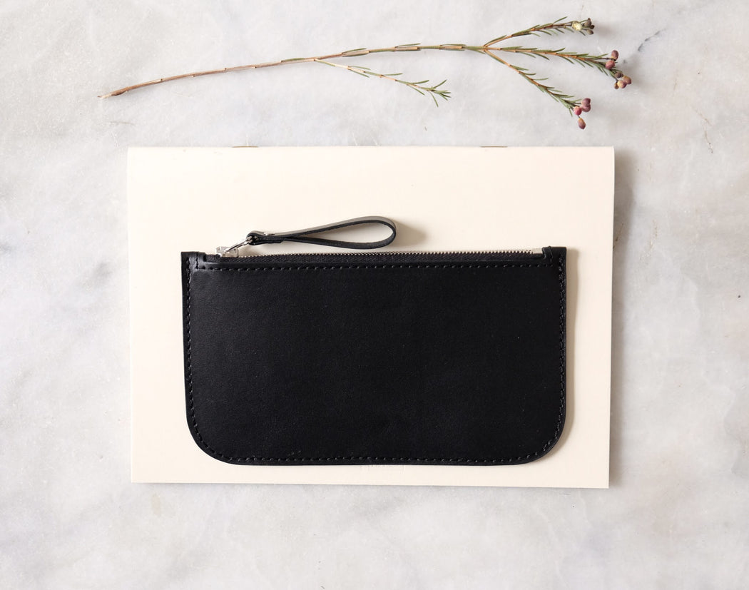 BLACK ALMOST PERFECT WALLET WITH ZIP | MILJOURS STUDIO