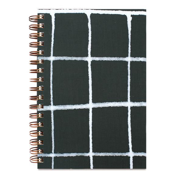 PAINTED NOTEBOOK GREEN GRID