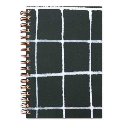 PAINTED NOTEBOOK GREEN GRID  | MOGLEA