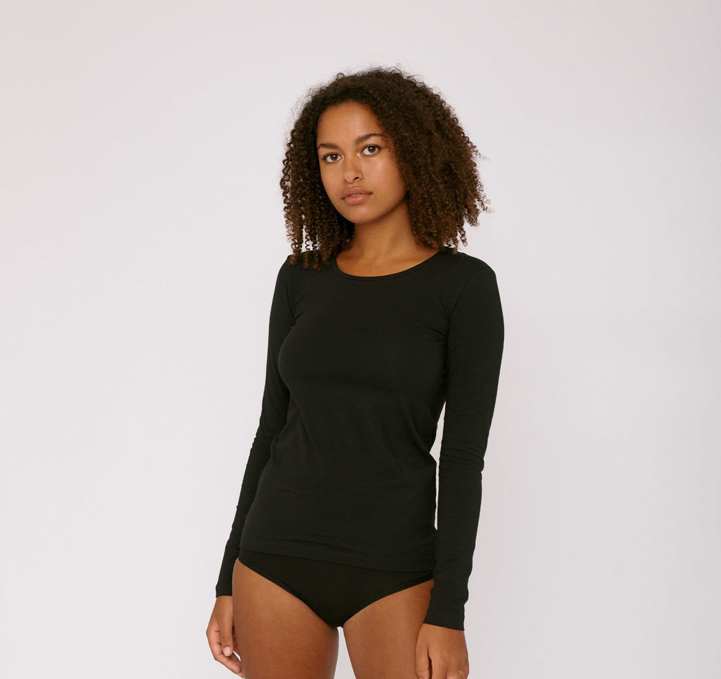 BLACK ORGANIC COTTON LONG-SLEEVE TEE | ORGANIC BASICS