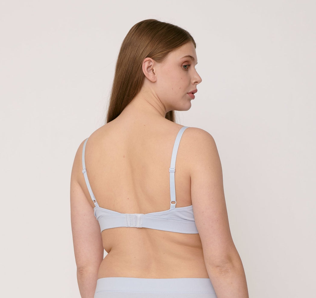 BLUE ORGANIC COTTON TRIANGLE BRA