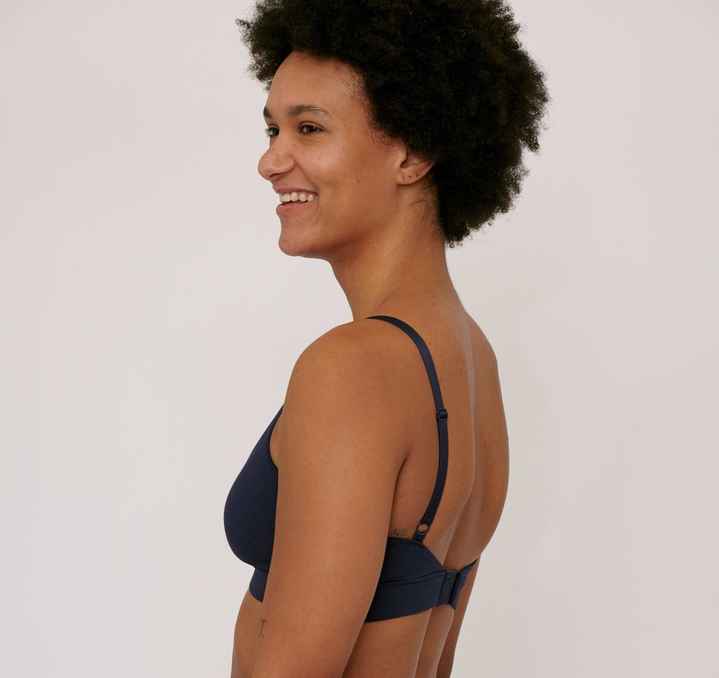 NAVY ORGANIC COTTON TRIANGLE BRA