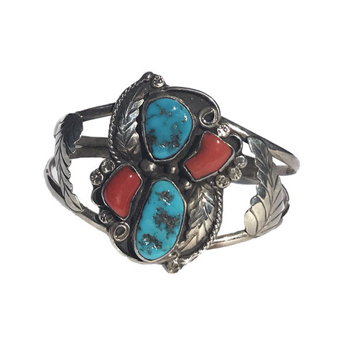 Floral Turquoise and Coral Cuff