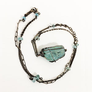 Large Aquamarine Drop Necklace