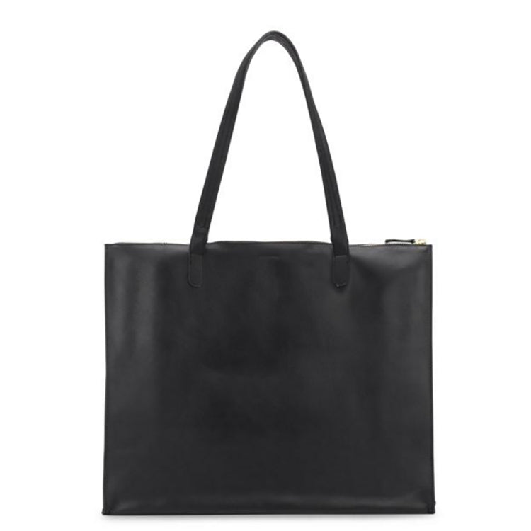 Everything Zip Top Tote in Black and Oiled Saddle