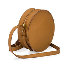 Mini Moon Small Round Crossbody in Oiled saddle and Orange