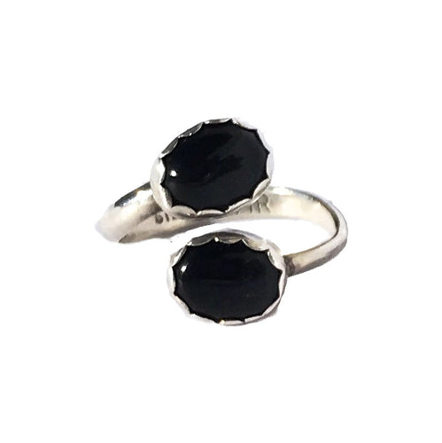 Two Stone Jet Onyx Ring