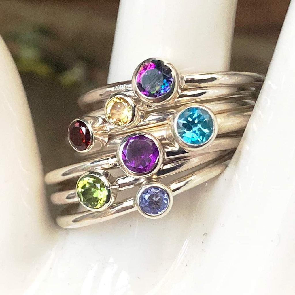 Birthstone Stacking Ring 2mm