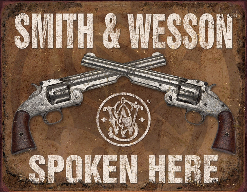 S&W Spoken Here Tin Sign