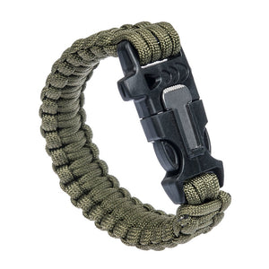 Paracord Bracelet With Whistle, Flint Rod & Scraper - Olive Drab