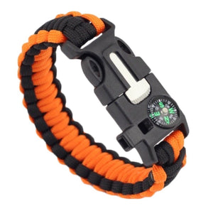 Paracord Bracelet With Whistle, Compass, Flint Rod & Scraper - Orange/ Black