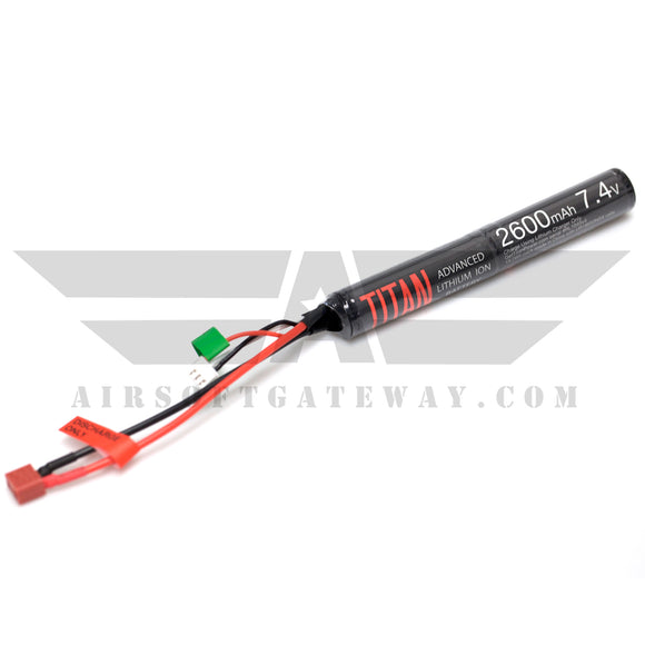 Titan Power 7.4v Lithium Ion Airsoft Battery Stick Type - Deans Connector - 2600mah - airsoftgateway.com
