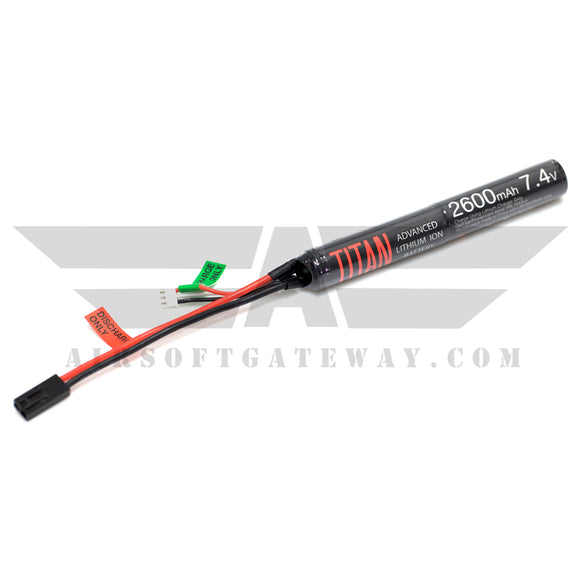 Titan Power 7.4v Lithium Ion Airsoft Battery Stick Type - Tamiya Connector - 2600mah - airsoftgateway.com