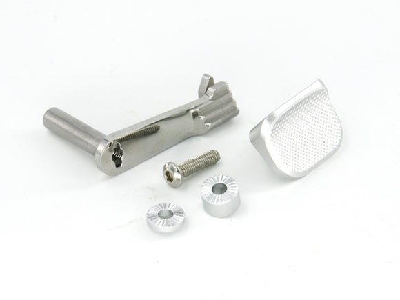 AIP Stainless Slide Stop with Thumbrest For Hi-CAPA 5.1/4.3 - SILVER - airsoftgateway.com