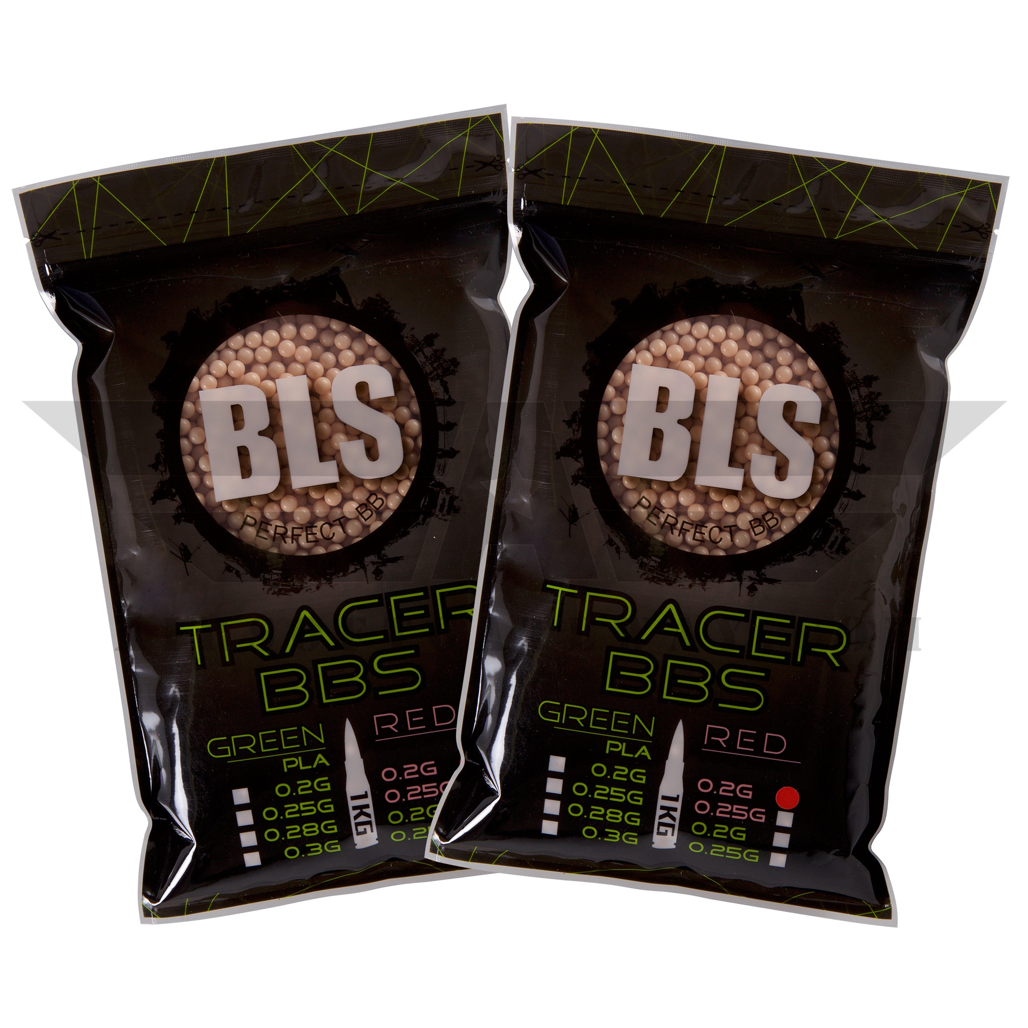 BLS Tracer Precision BBs 5.95mm +- .01mm - .20g - 10000 Total Count - RED - (2 Pack) - airsoftgateway.com