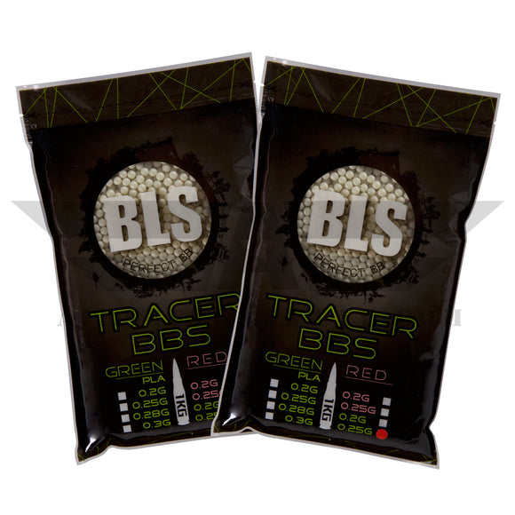 BLS Tracer Precision BBs 5.95mm +- .01mm - .25g - 8000 Total Count - GREEN - (2 Pack) - airsoftgateway.com