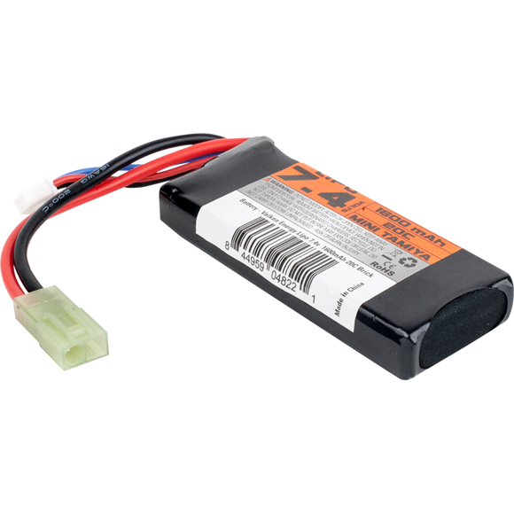 VALKEN AIRSOFT BATTERY - LI-PO 7.4V 1600MAH 30C MINI BRICK STYLE - Mini Tamiya