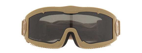Lancer Tactical Aero Protective Airsoft Goggle W/ Smoke/Yellow/Clear Lenses - Tan - airsoftgateway.com