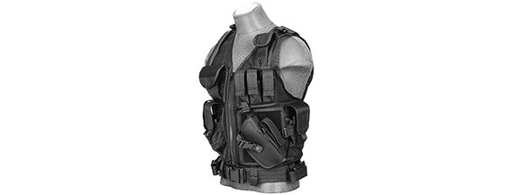 Lancer Tactical CA-310B Cross Draw Vest - Black - airsoftgateway.com