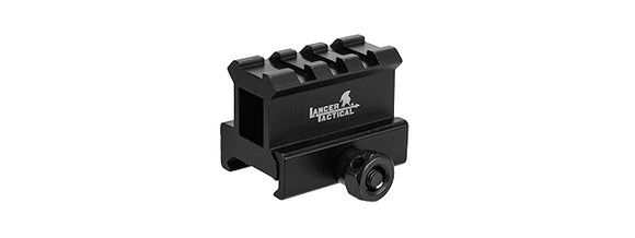 Lancer Tactical CA-437 Aluminum 2-SLOT Med-Profile Compact Riser Mount - Black - airsoftgateway.com