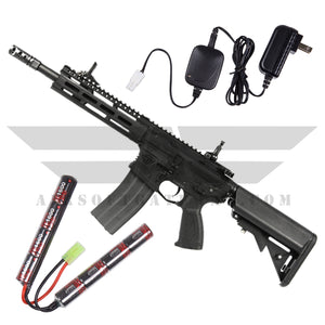 G&G CM16 Raider 2.0 Combo - Deans - 9.6v Nunchuck Battery & Charger - Black - airsoftgateway.com