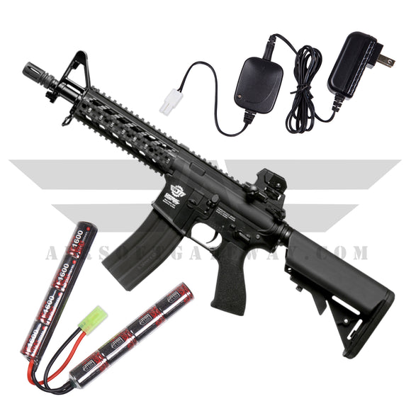 G&G CM16 Raider Combo - 9.6v Nunchuck Battery & Charger - Black - airsoftgateway.com