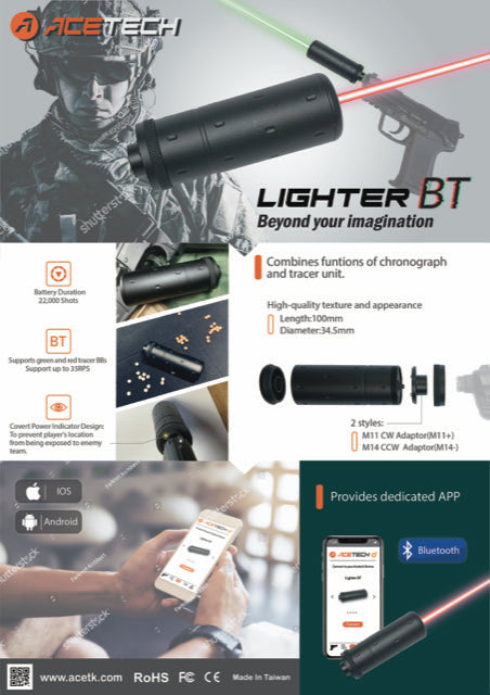 ACETECH LIGHTER BT TRACER UNITS FOR RED AND GREEN TRACER BBS - Black - airsoftgateway.com