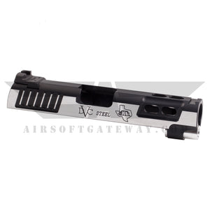 Airsoft Masterpiece STI DVC Steel 4.3 Slide with Rear Sight - 2Tone - Black/Silver - airsoftgateway.com