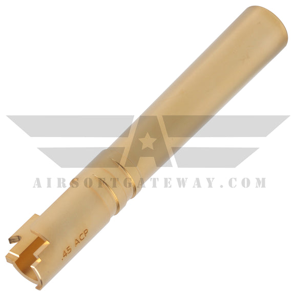 Airsoft Masterpiece .45 ACP Steel Outer Barrel for Hi-Capa 5.1 - Gold - airsoftgateway.com