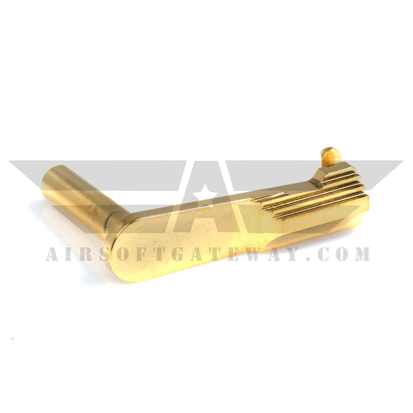 Airsoft Masterpiece STEEL Slide Stop - Type 1 STI Convex Bottom Gold - airsoftgateway.com